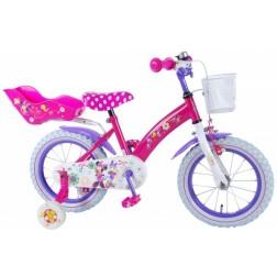 Bicicleta pentru fete 14 inch, cu scaun pentru papusi, roti ajutatoare si cosulet, Minnie Mouse