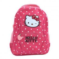 Ghiozdan Clasele I-IV Hello Kitty roz inchis cu buline Pigna si minge cadou