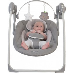 Leagan portabil Gri pentru bebelusi cu arcada jucarii - Bo Jungle