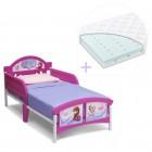 Set pat cu cadru metalic Disney Frozen si saltea pentru patut Dreamily - 140 x 70 x 10 cm