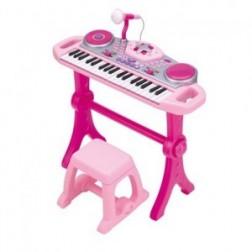 Orga muzicala cu scaunel Winfun Consola DJ cu platane si microfon Roz