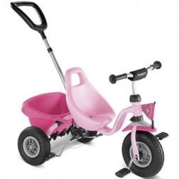 Tricicleta cu maner, roz, 2+, Puky