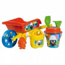 Roaba Calimero Androni pentru copii cu galetusa stropitoare si alte accesorii plaja