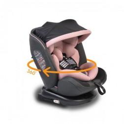 Scaun Auto Rotativ 360 grade cu Isofix 0-36 kg, Pilot Pink