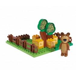 Set constructie cuburi Masha si Ursul Galetusa cuburi Gradina Mishei 21 piese - Unico