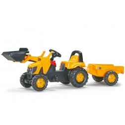 Tractor Cu Pedale Si Remorca galben pentru copii - Rolly Toys