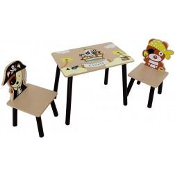 Set masuta si 2 scaunele Pirate Brown pentru baieti - Style