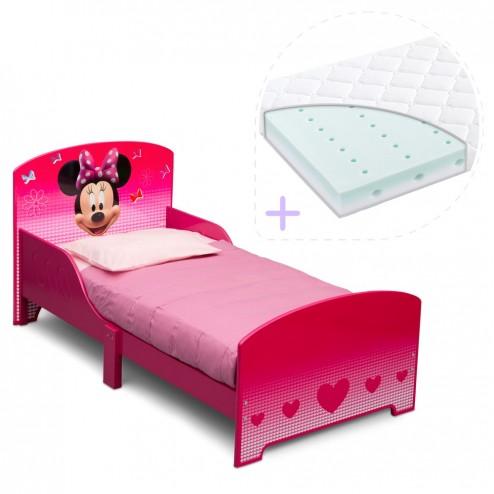 Set pat cu cadru din lemn Disney Minnie Mouse si saltea pentru patut Dreamily - 140 x 70 x 10 cm