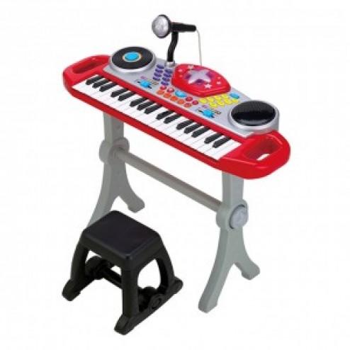 Orga muzicala cu scaunel Winfun Consola DJ cu platane si microfon Rosu cu negru