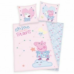 Lenjerie de pat cu 2 fete Peppa Pig Roz