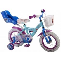Bicicleta pentru fete 12 inch, cu scaun pentru papusi, roti ajutatoare si cosulet, Frozen