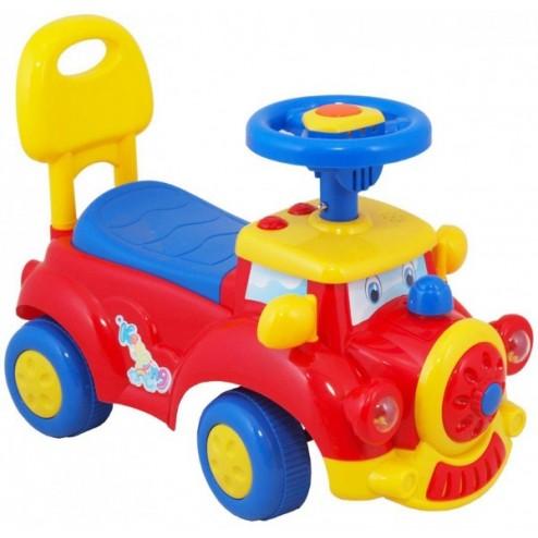 Masinuta fara pedale Locomotiva multicolora cu sunete Baby Mix de impins pentru copii