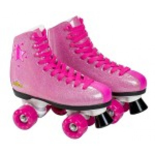 Patine cu rotile pentru fete Saica 6991 Shak, marime 33, roz cu sclipici, 4 roti si frana
