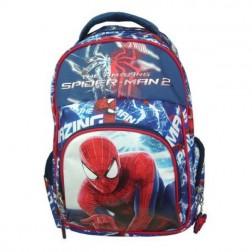 Ghiozdan clasa 0 Spiderman albastru buzunar oval Pigna si minge cadou