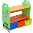 Raft carti si jucarii cu cadru din lemn Green Crayon Style