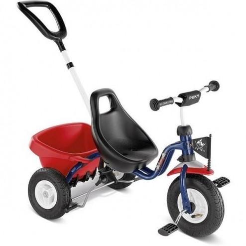 Tricicleta cu maner, albastru, 2+, Puky