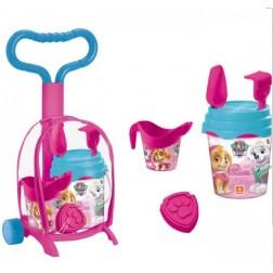 Troller cu ghiozdanel Paw Patrol Girls pentru copii cu jucarii plaja si galetusa - Mondo