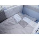Lenjerie Dots Blue Grey 11 Piese 120x60 cm - MyKids