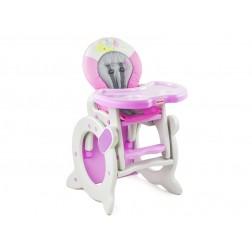 Scaun de masa 2 in 1 MyKids Baby Zoo roz