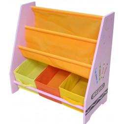 Organizator carti si jucarii cu cadru din lemn Pink Crayon - Style