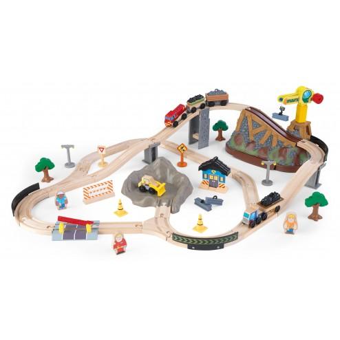 Trenulet din lemn Bucket Top Construction cu set de accesorii