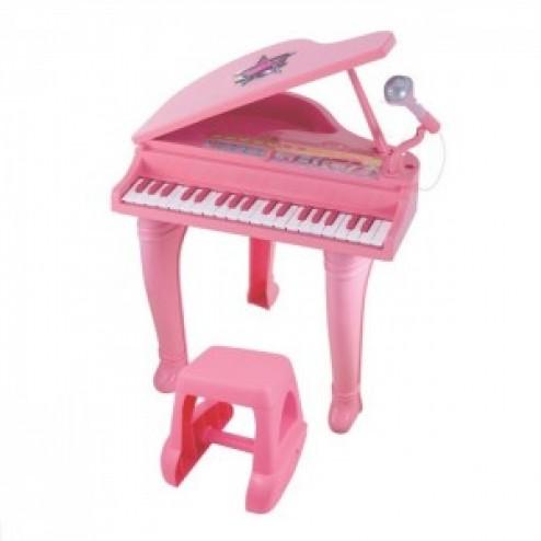 Mini Pian cu scaunel si microfon Winfun 37 clape cu functie inregistrare Roz