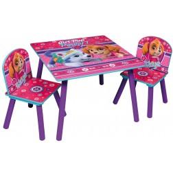 Set masuta si 2 scaunele Pink Paw Patrol