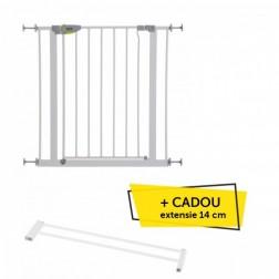Poarta de Siguranta Squeeze Handle White + CADOU Extensie 14 cm White - Hauck