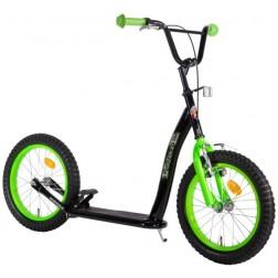 Trotineta copii cu 2 roti mari 16 inch Volare Negru cu Verde frana pe ghidon si frana de picior si cric