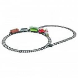 Trenulet electric Globo cu sina locomotiva si 3 vagoane sunete si lumini 20 piese
