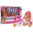 Papusa bebelus cu cadita si accesorii baie