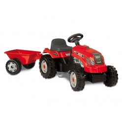 Tractor copii Smoby 033045 Farmer Red cu remorca si pedale