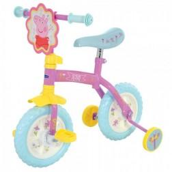 Bicicleta copii Peppa Pig 10 inch 2 in 1 cu si fara pedale si roti ajutatoare