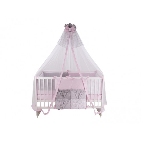 Lenjerie Dots Pink Grey 11 Piese 120x60 cm - MyKids