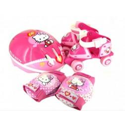 Set rotile Hello Kitty Saica pentru copii cu accesorii protectie si casca marimi reglabile 24-29