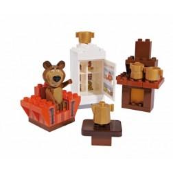 Set constructie cuburi Masha si Ursul Galetusa cuburi Camera Mishei 35 piese - Unico