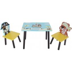 Set masuta si 2 scaunele Pirate Blue pentru baieti - Style