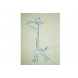 Lenjerie MyKids Cu Broderie Giraffe Albastru 4 Piese 120x60