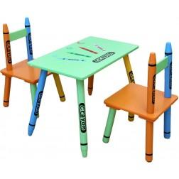 Set masuta si 2 scaunele Green Crayon