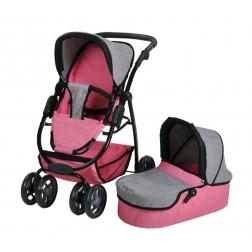 Carucior pentru papusi 3 in 1 Coco Jeans Pink