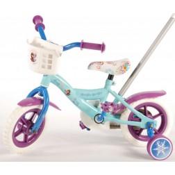 Bicicleta pentru fete 10 inch, cu maner,  roti ajutatoare si cosulet, Frozen
