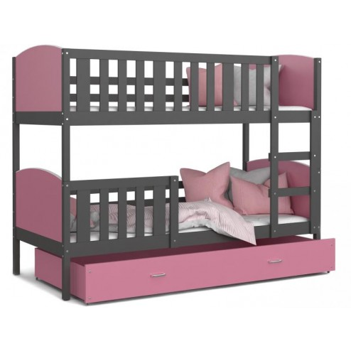 Patut tineret MyKids 2 in 1 Tami Color Grey/Pink-190x80