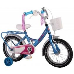 Bicicleta copii fetite 14 inch Volare Bike cu roti ajutatoare cosulet portbagaj metal si pompoane la ghidon