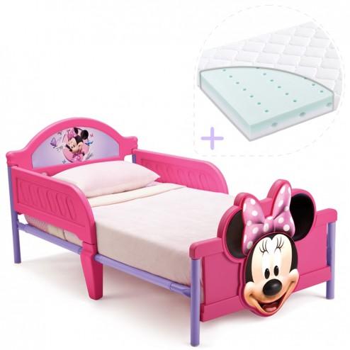 Set pat cu cadru metalic Disney Minnie Mouse 3D si saltea pentru patut Dreamily - 140 x 70 x 10 cm